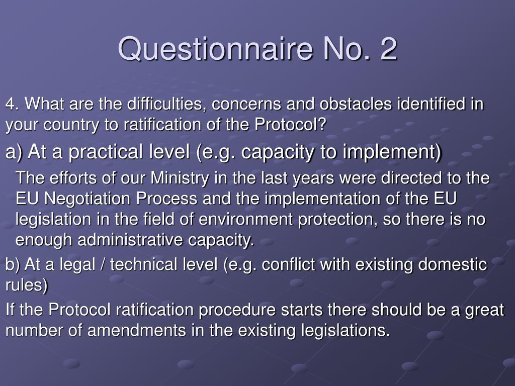 Questionnaire No. 2