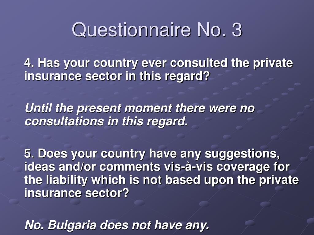 Questionnaire No. 3