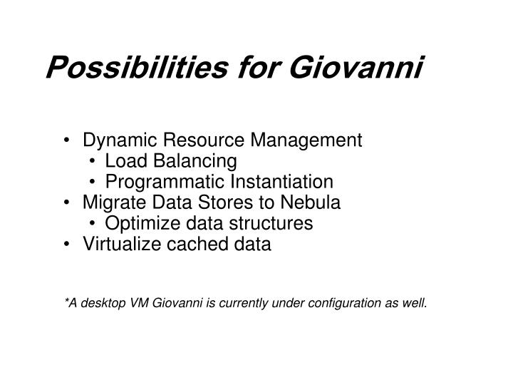Possibilities for Giovanni
