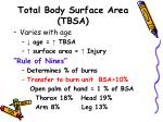 total body surface area tbsa