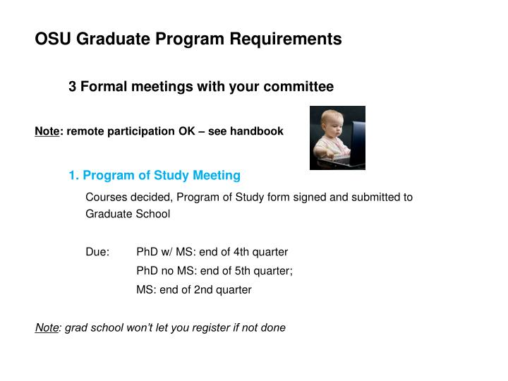 OSU Graduate Program Requirements