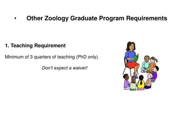 Other Zoology Graduate Program Requirements