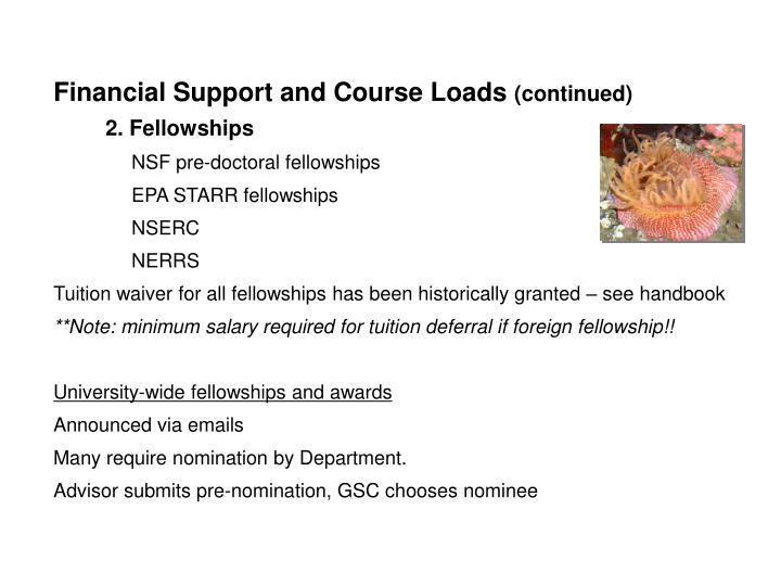 Financial Support and Course Loads