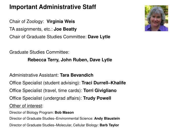 Important Administrative Staff