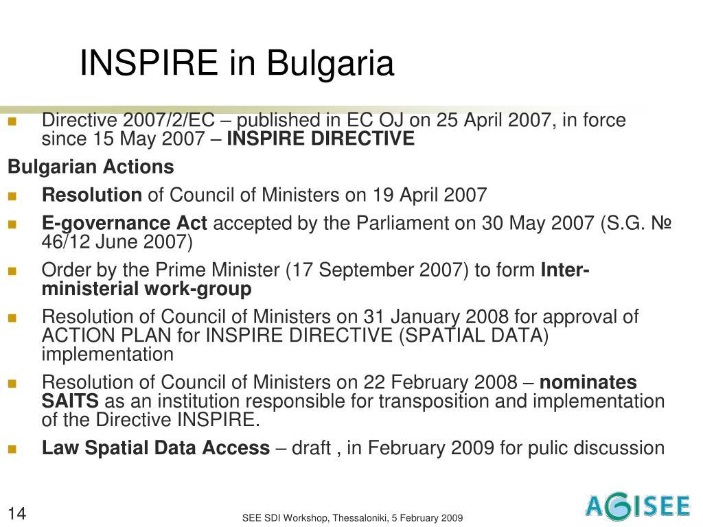 INSPIRE in Bulgaria