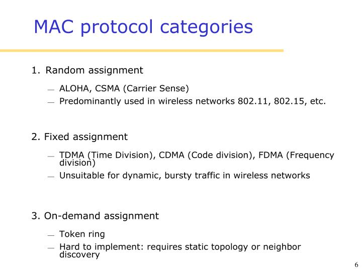 Categories for the mac protocols for wireless - Research