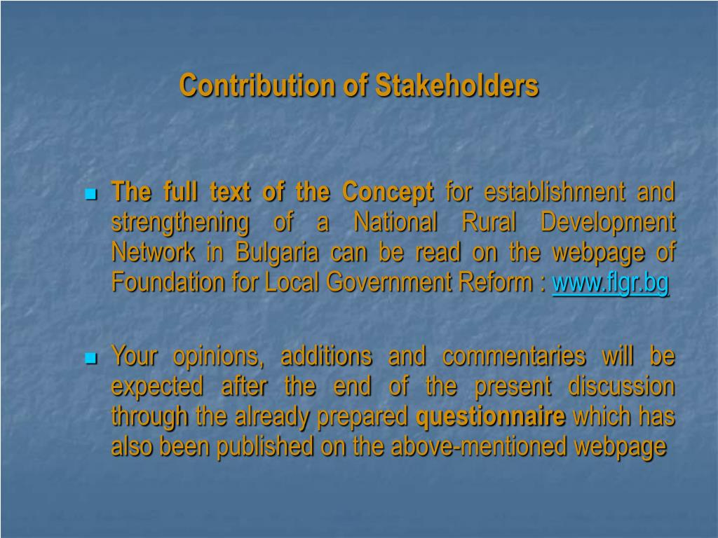 Contribution of Stakeholders