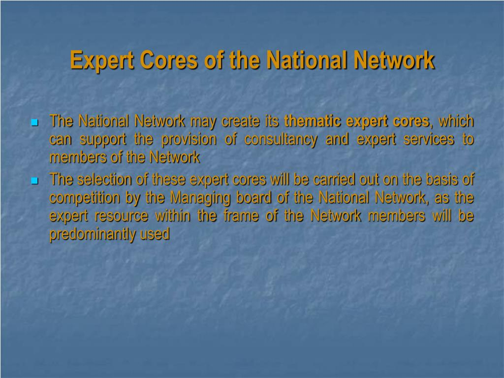Expert Cores of the National Network