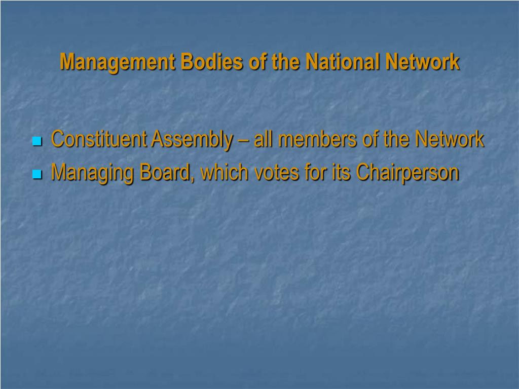 Management Bodies of the National Network