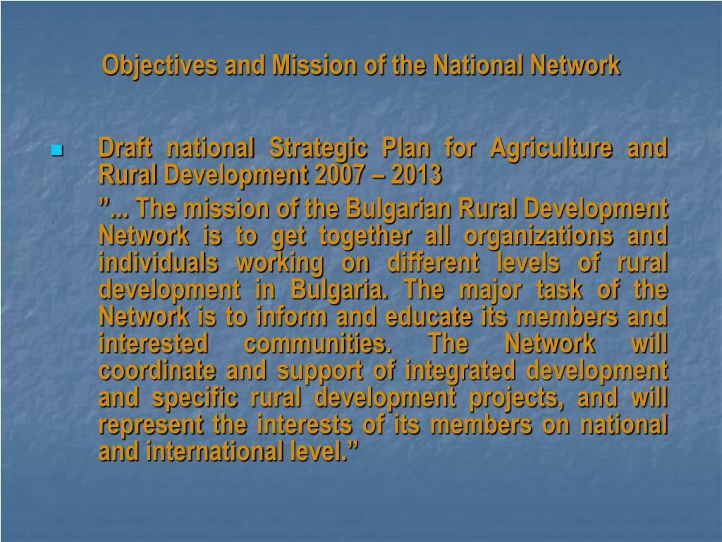Objectives and Mission of the National Network