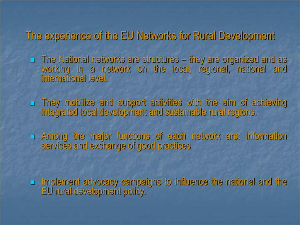The experience of the EU Networks for Rural Development