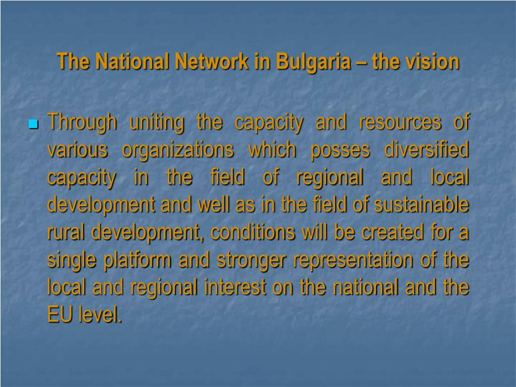 The National Network in Bulgaria