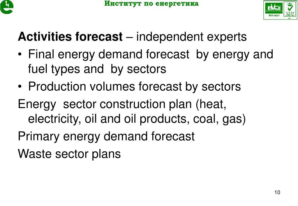 Activities forecast