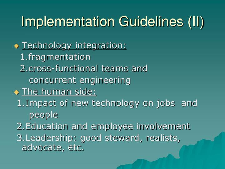 Implementation Guidelines (II)