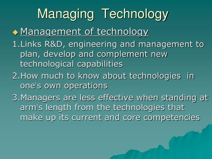 Managing  Technology