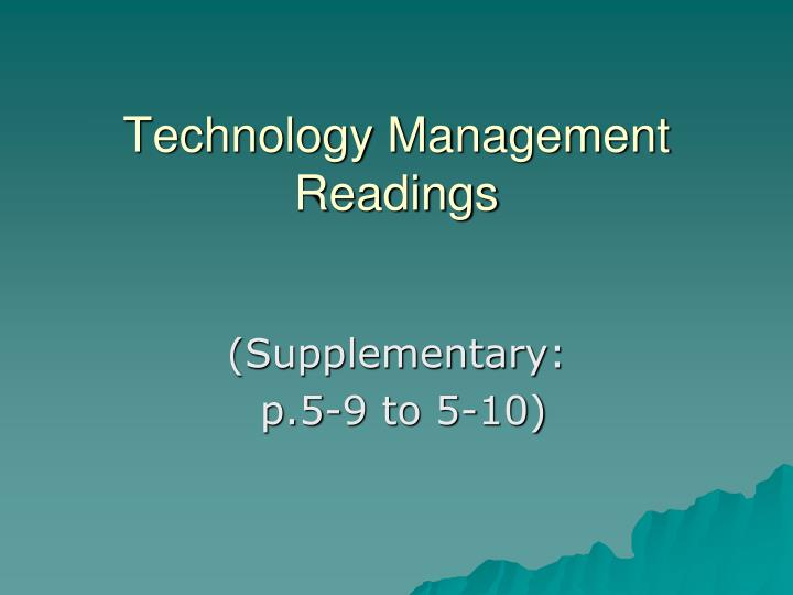 Technology Management Readings