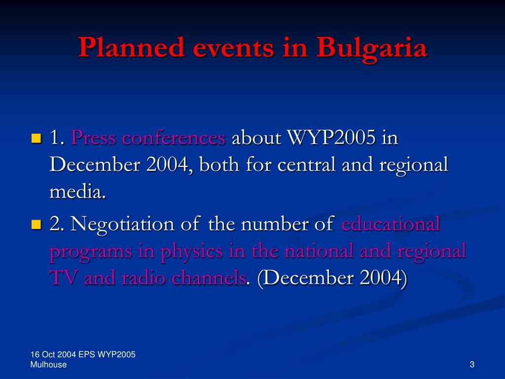 Planned events in Bulgaria