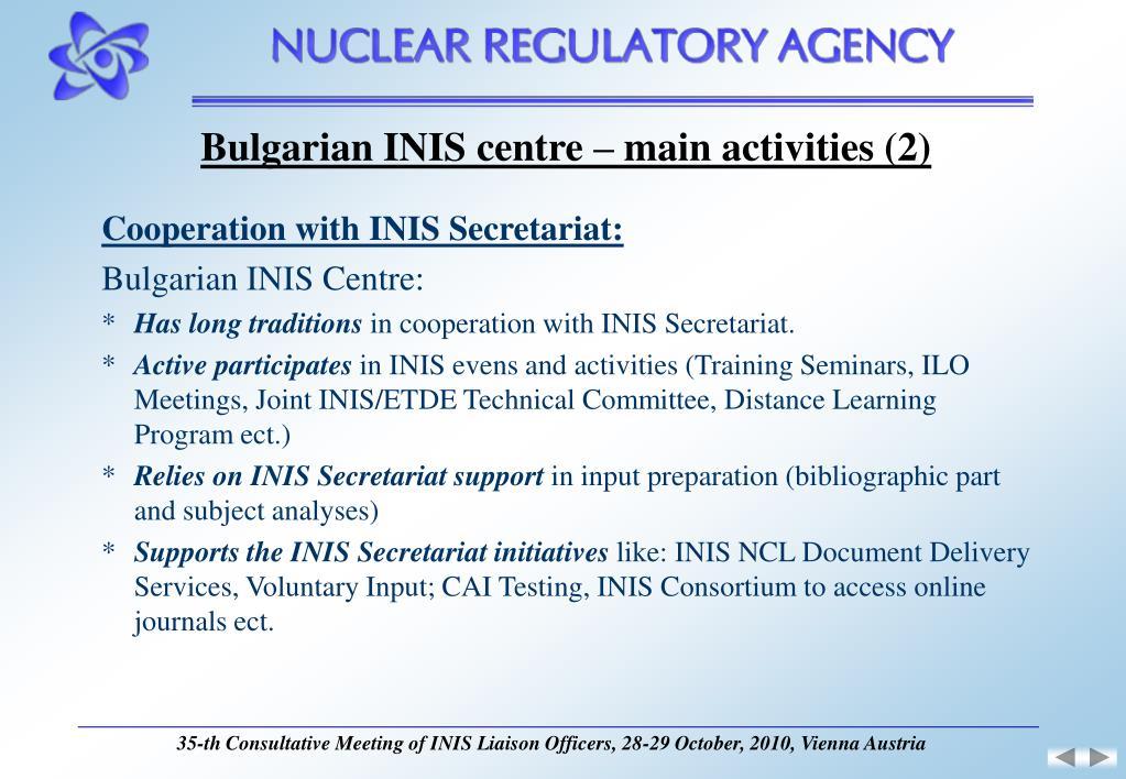Bulgarian INIS centre – main activities (2)