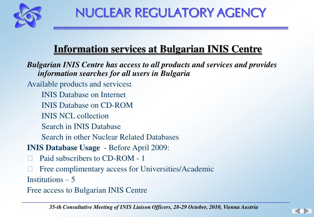 Information services at Bulgarian INIS Centre