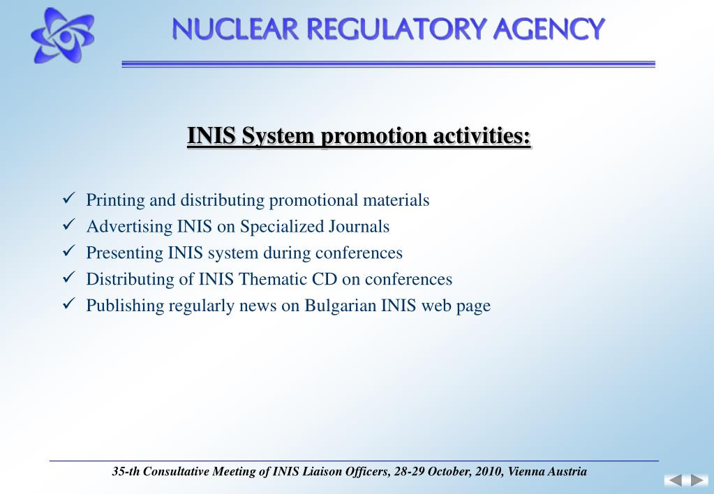 INIS System promotion activities: