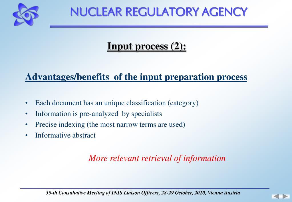 Input process (2):