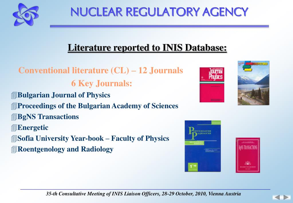Literature reported to INIS Database: