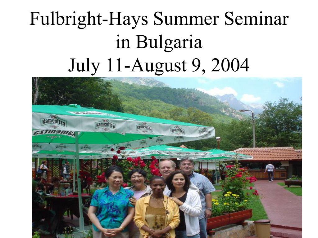 Fulbright-Hays Summer Seminar