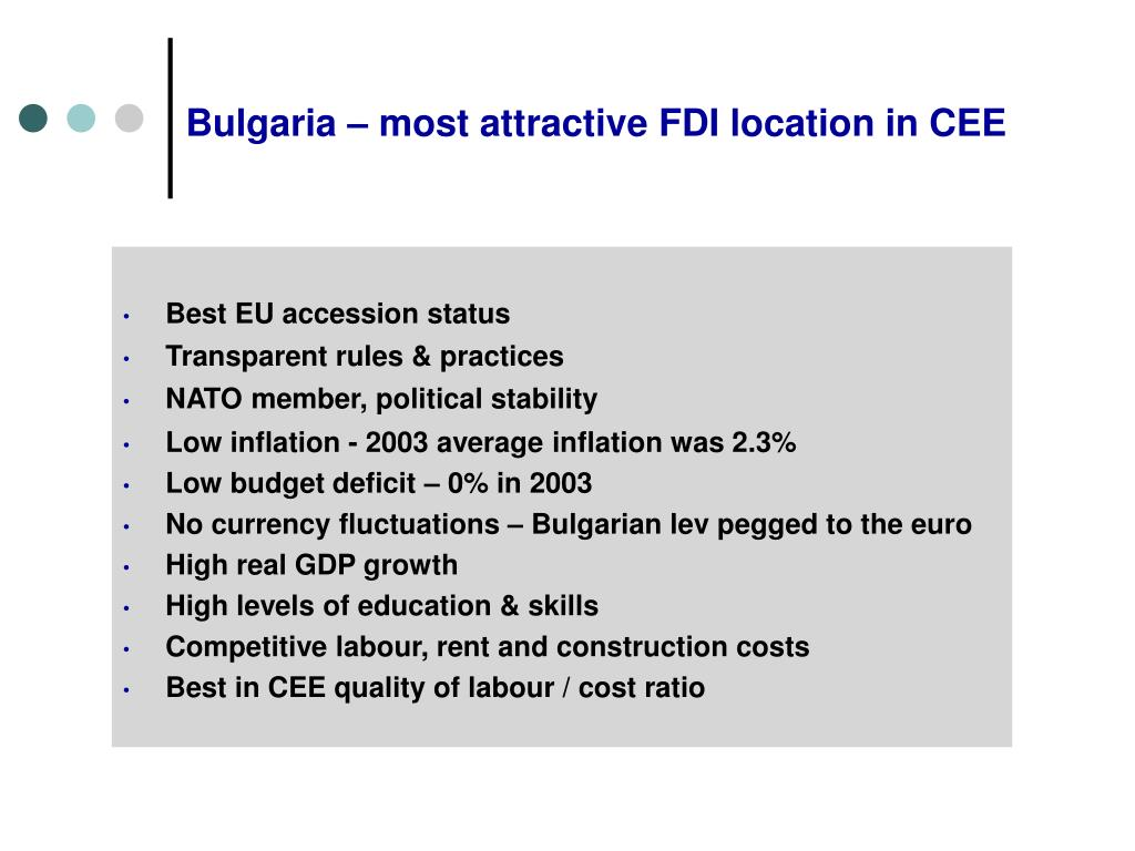 Bulgaria – most attractive FDI location in CEE