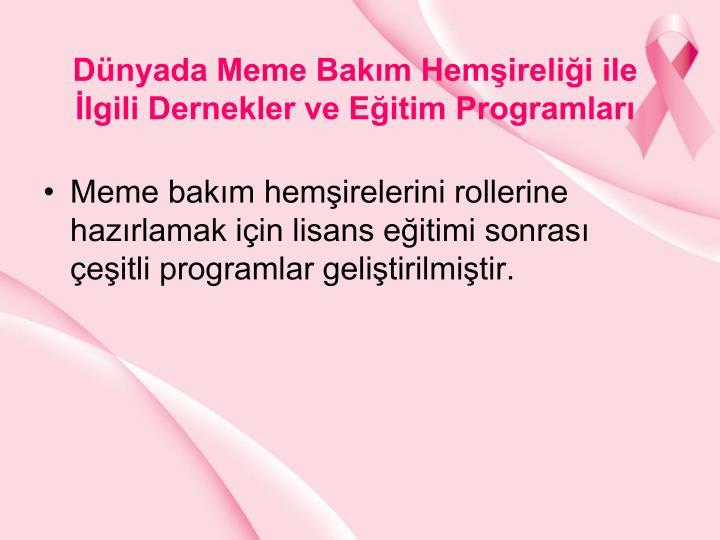 Dnyada Meme Bakm Hemirelii ile lgili Dernekler ve Eitim Programlar