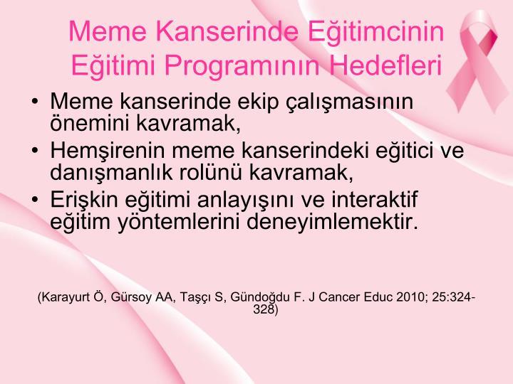 Meme Kanserinde Eitimcinin Eitimi Programnn Hedefleri