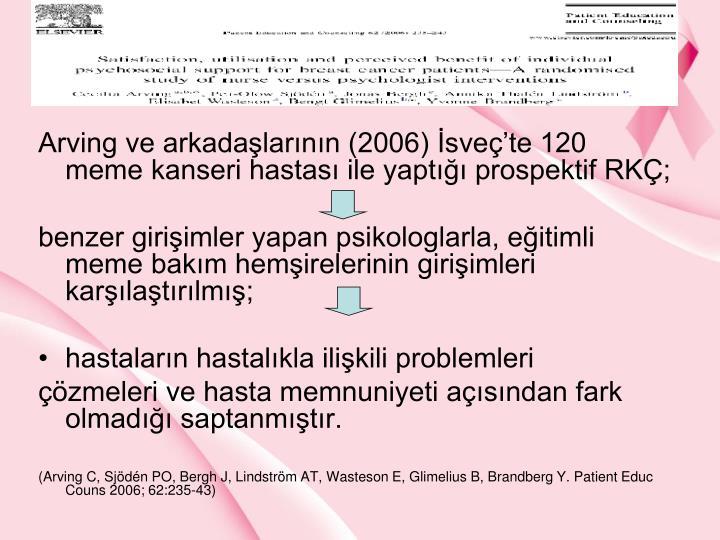 Arving ve arkadalarnn (2006) svete 120 meme kanseri hastas ile yapt prospektif RK;