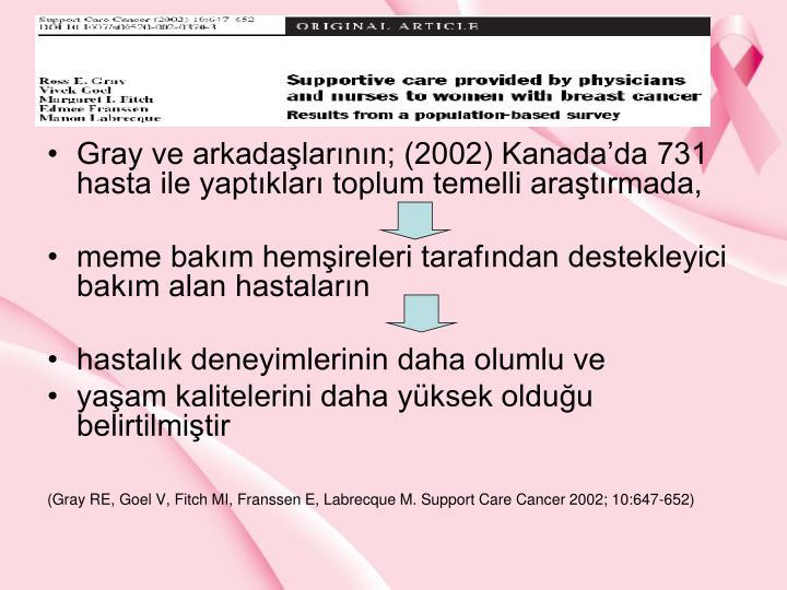 Gray ve arkadalarnn; (2002) Kanadada 731 hasta ile yaptklar toplum temelli aratrmada,