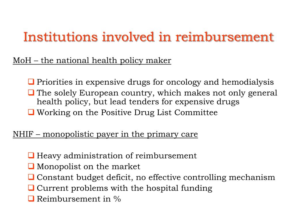 Institutions involved in reimbursement
