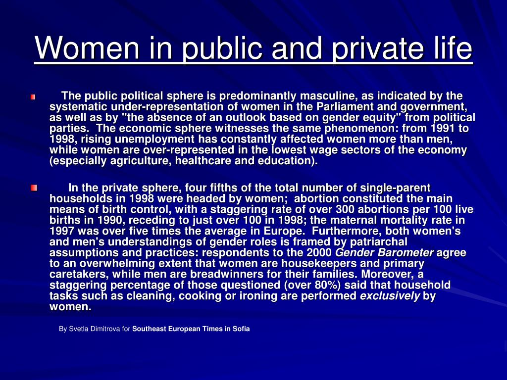 Women in public and private life