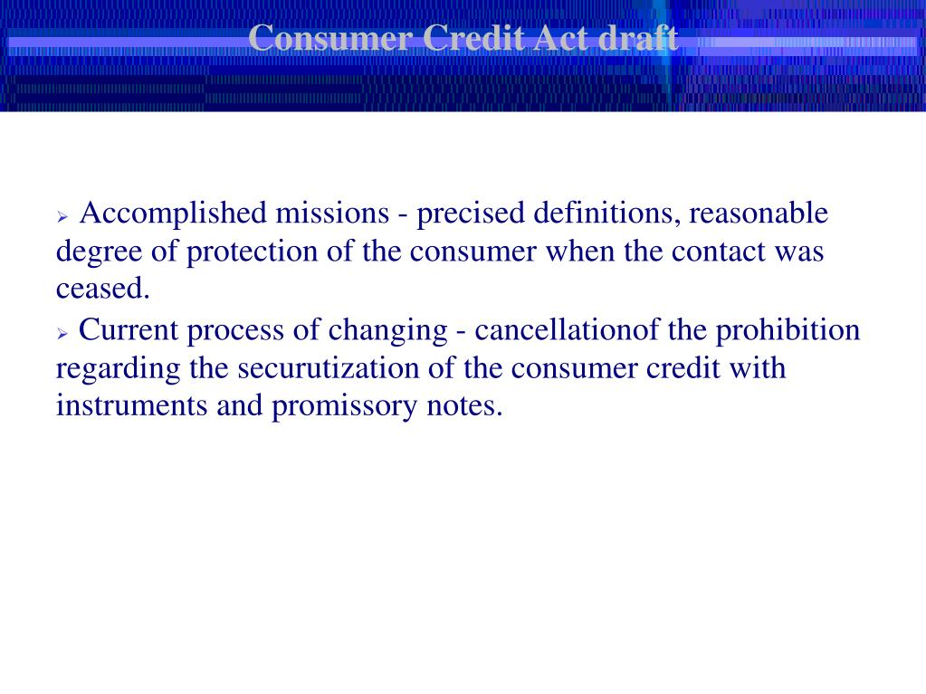 Consumer Credit Act draft