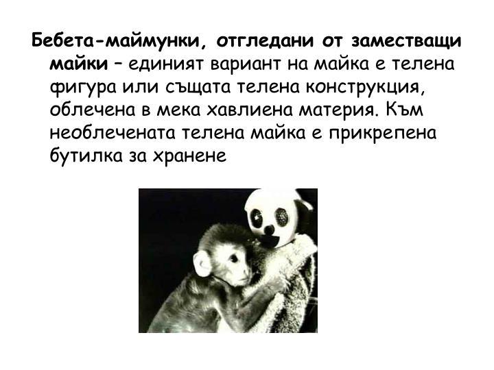 Бебета-маймунки, отгледани от заместващи майки