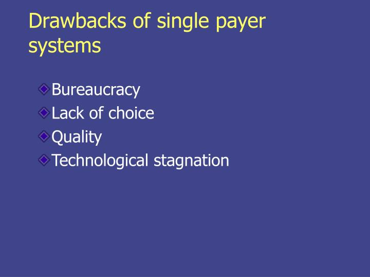 Drawbacks of single payer systems