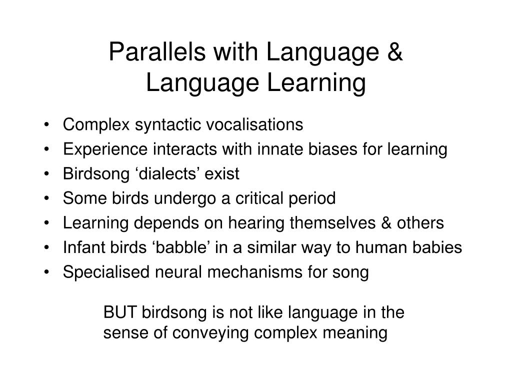 Parallels with Language &