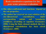 basic constitutive equations for the pore water pressure evaluation31