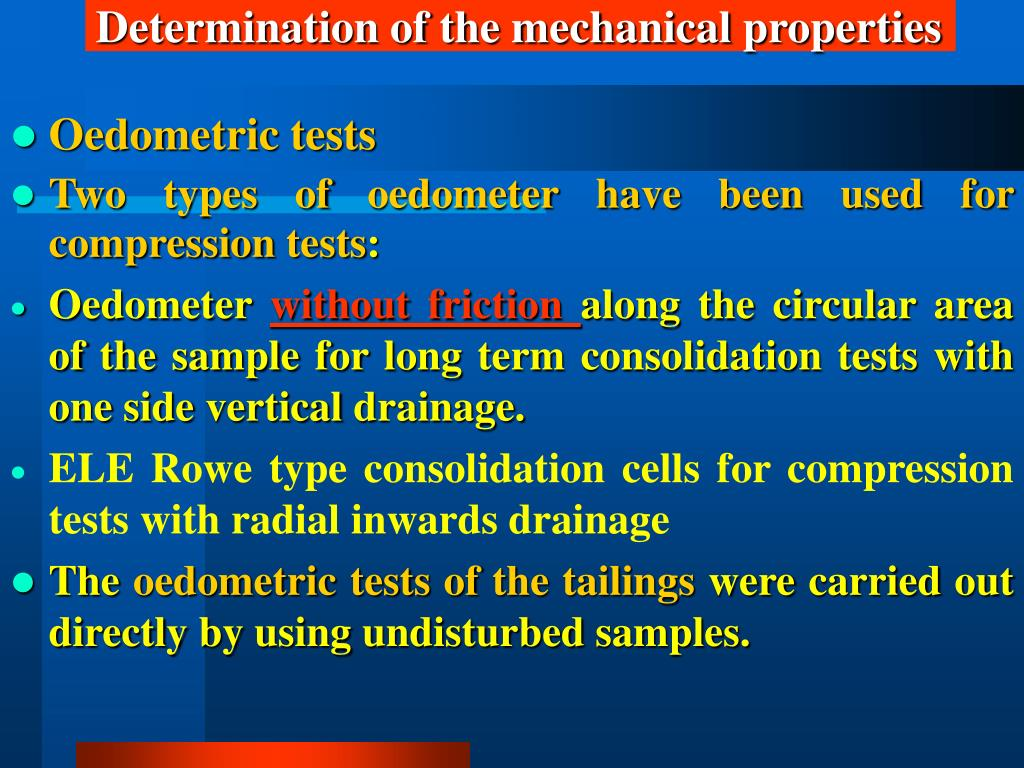 Determination of the mechanical properties