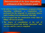 determination of the time depending settlement of the oxidative pond48