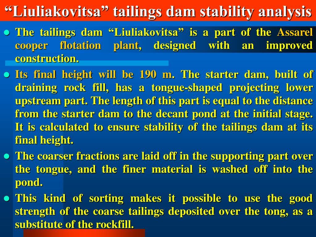 """Liuliakovitsa"" tailings dam stability analysis"