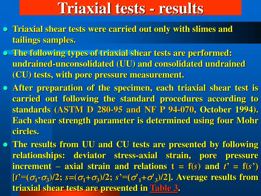 Triaxial tests - results