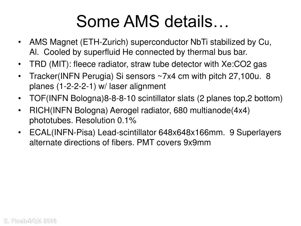Some AMS details…