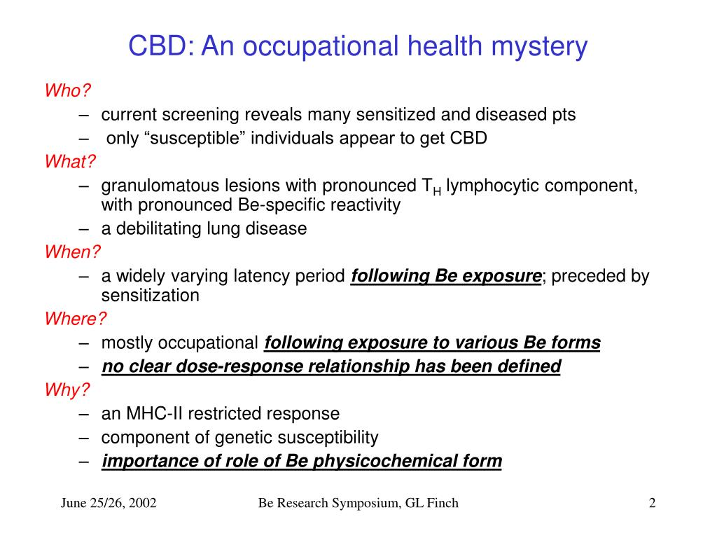 CBD: An occupational health mystery