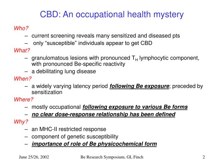 Cbd an occupational health mystery