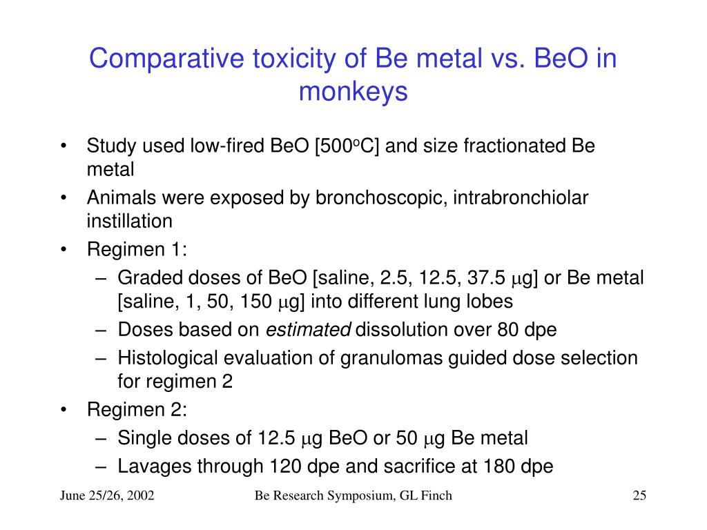 Comparative toxicity of Be metal vs. BeO in monkeys