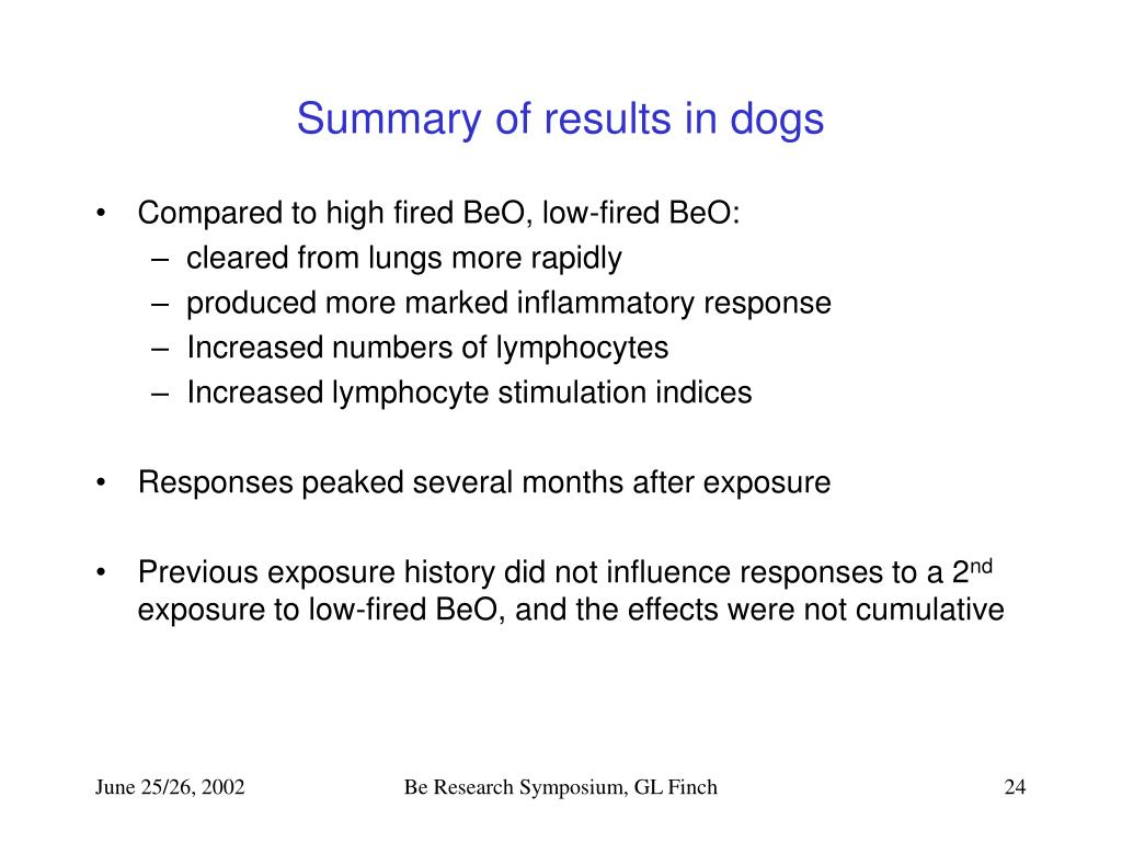 Summary of results in dogs