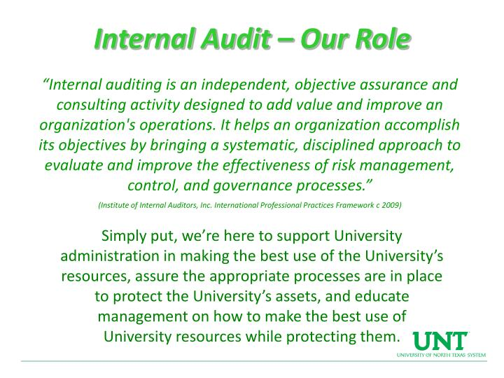 Internal Audit – Our Role