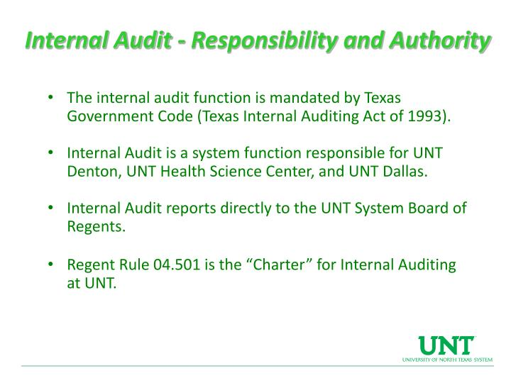 Internal Audit - Responsibility and Authority